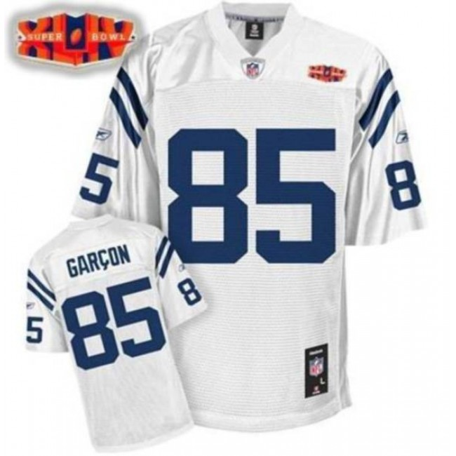 Colts #85 Pierre Garcon White With Super Bowl Patch Stitched NFL Jersey