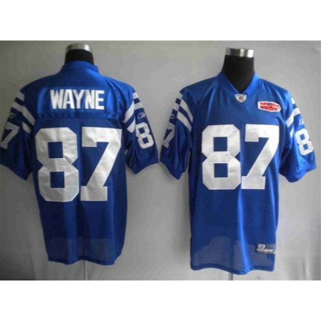 Colts #87 Reggie Wayne Blue With Super Bowl Patch Stitched NFL Jersey