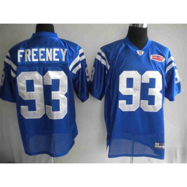 Colts #93 Dwight Freeney Blue With Super Bowl Patch Stitched NFL Jersey