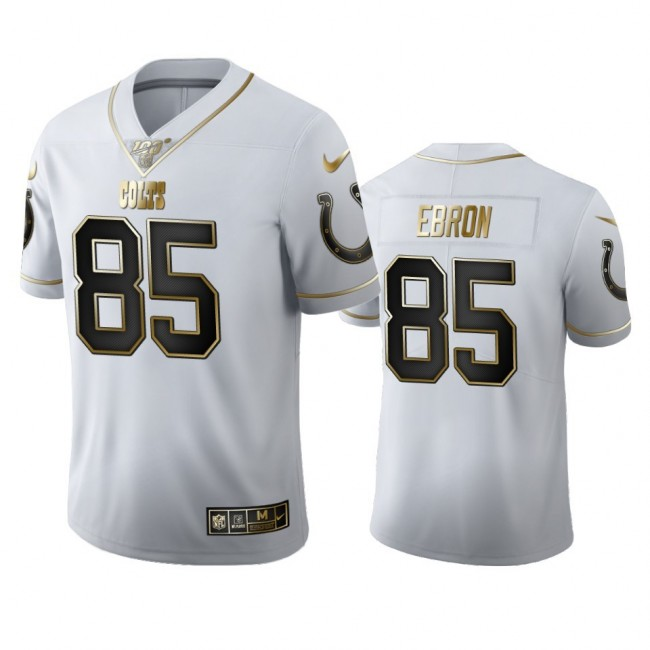 Indianapolis Colts #85 Eric Ebron Men's Nike White Golden Edition Vapor Limited NFL 100 Jersey