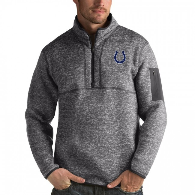 Indianapolis Colts Antigua Fortune Quarter-Zip Pullover Jacket Charcoal