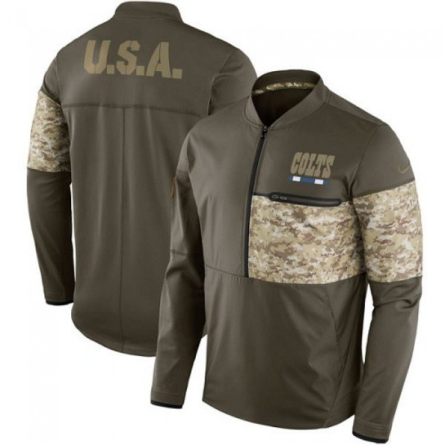 Men's Indianapolis Colts Nike Olive Salute to Service Sideline Hybrid Half-Zip Pullover Jacket
