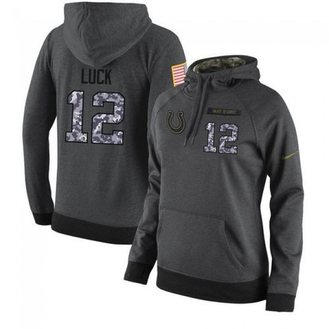 Women's NFL Indianapolis Colts #12 Andrew Luck Stitched Black Anthracite Salute to Service Player Hoodie Jersey