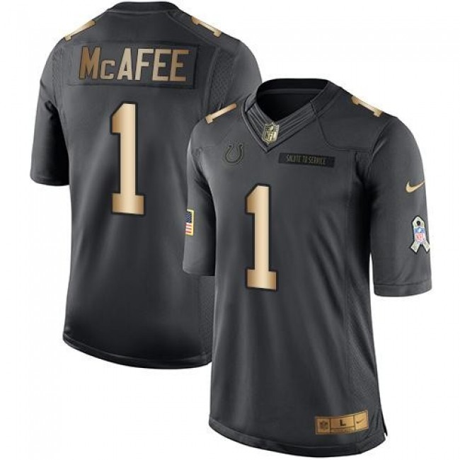 Indianapolis Colts #1 Pat McAfee Black Youth Stitched NFL Limited Gold Salute to Service Jersey
