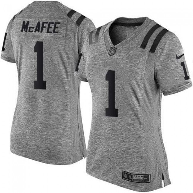 Women's Colts #1 Pat McAfee Gray Stitched NFL Limited Gridiron Gray Jersey