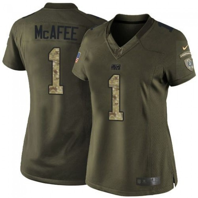 Women's Colts #1 Pat McAfee Green Stitched NFL Limited Salute to Service Jersey
