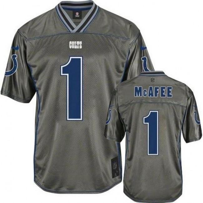 Nike Colts #1 Pat McAfee Grey Men's Stitched NFL Elite Vapor Jersey