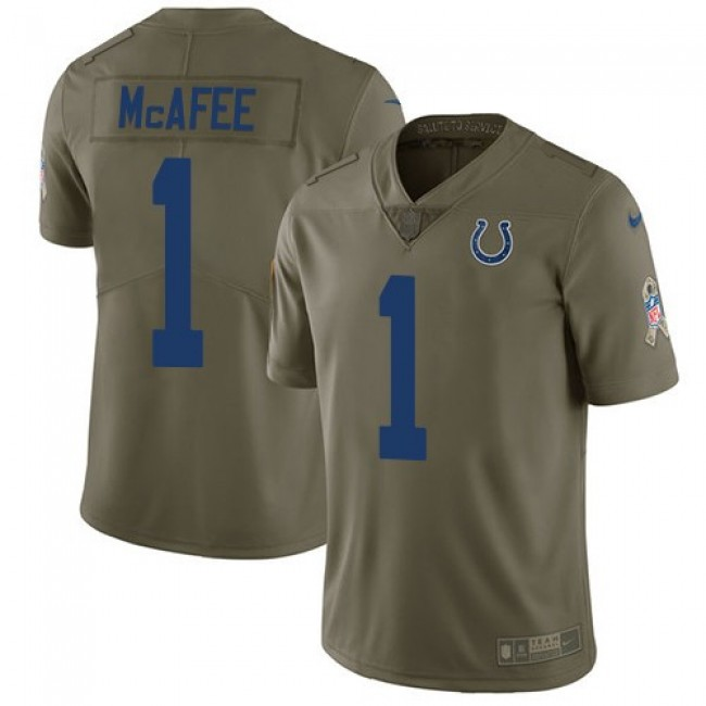 Nike Colts #1 Pat McAfee Olive Men's Stitched NFL Limited 2017 Salute to Service Jersey