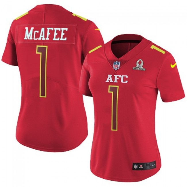 Women's Colts #1 Pat McAfee Red Stitched NFL Limited AFC 2017 Pro Bowl Jersey