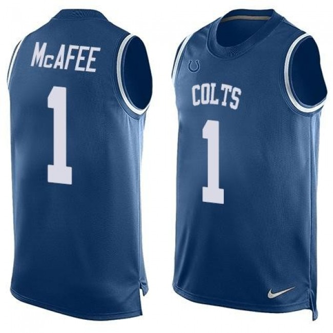 Nike Colts #1 Pat McAfee Royal Blue Team Color Men's Stitched NFL Limited Tank Top Jersey