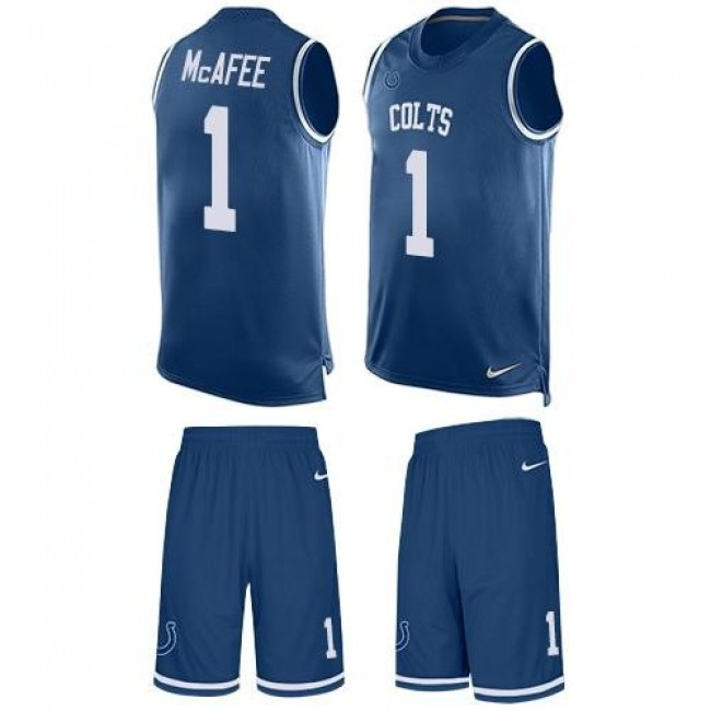 Nike Colts #1 Pat McAfee Royal Blue Team Color Men's Stitched NFL Limited Tank Top Suit Jersey