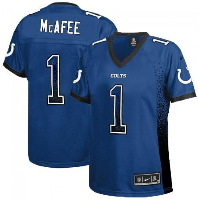Women's Colts #1 Pat McAfee Royal Blue Team Color Stitched NFL Elite Drift Jersey