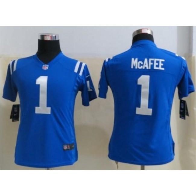 Women's Colts #1 Pat McAfee Royal Blue Team Color Stitched NFL Elite Jersey