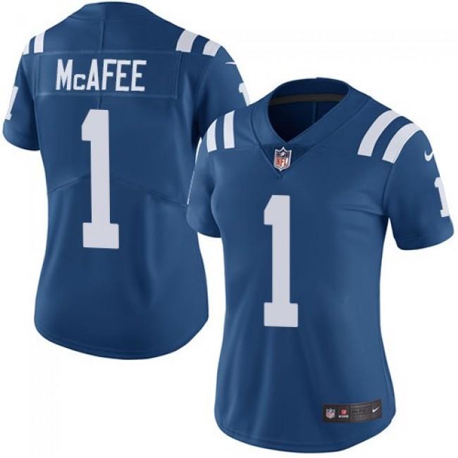 Women's Colts #1 Pat McAfee Royal Blue Team Color Stitched NFL Vapor Untouchable Limited Jersey