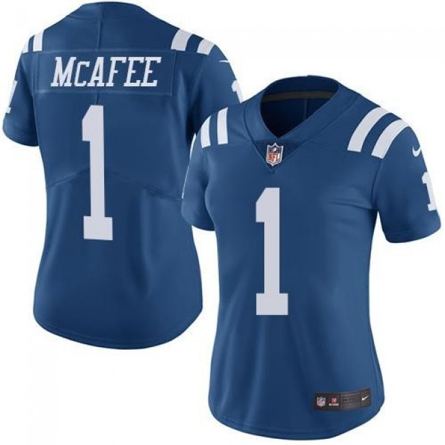 Women's Colts #1 Pat McAfee Royal Blue Stitched NFL Limited Rush Jersey