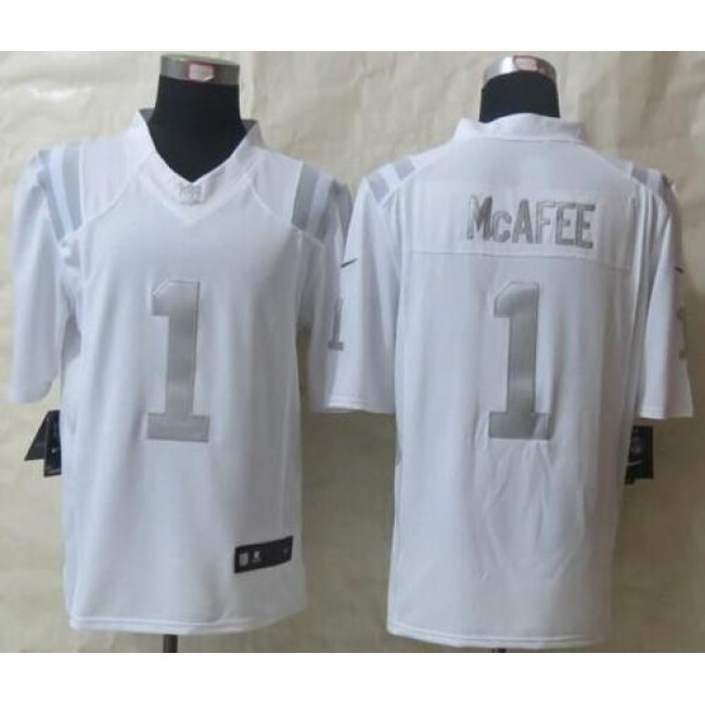 Nike Colts #1 Pat McAfee White Men's Stitched NFL Limited Platinum Jersey