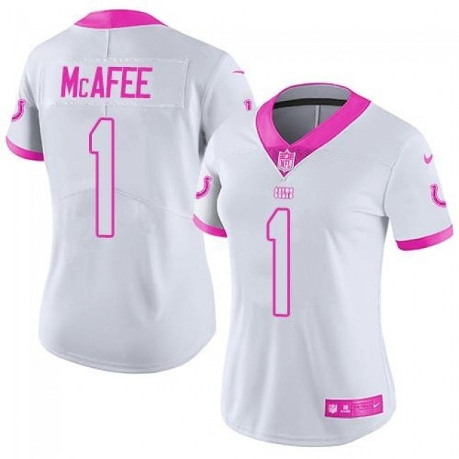Women's Colts #1 Pat McAfee White Pink Stitched NFL Limited Rush Jersey