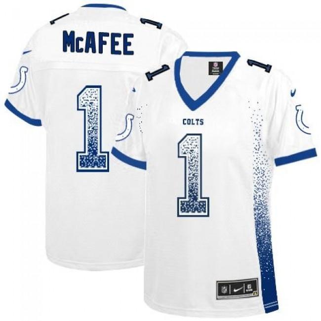 Women's Colts #1 Pat McAfee White Stitched NFL Elite Drift Jersey