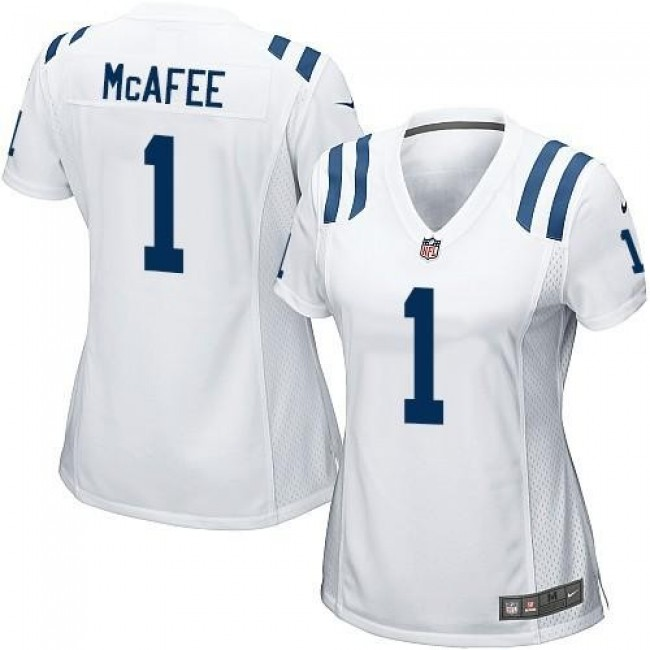 Women's Colts #1 Pat McAfee White Stitched NFL Elite Jersey