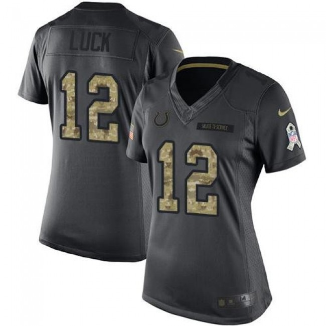Women's Colts #12 Andrew Luck Black Stitched NFL Limited 2016 Salute to Service Jersey