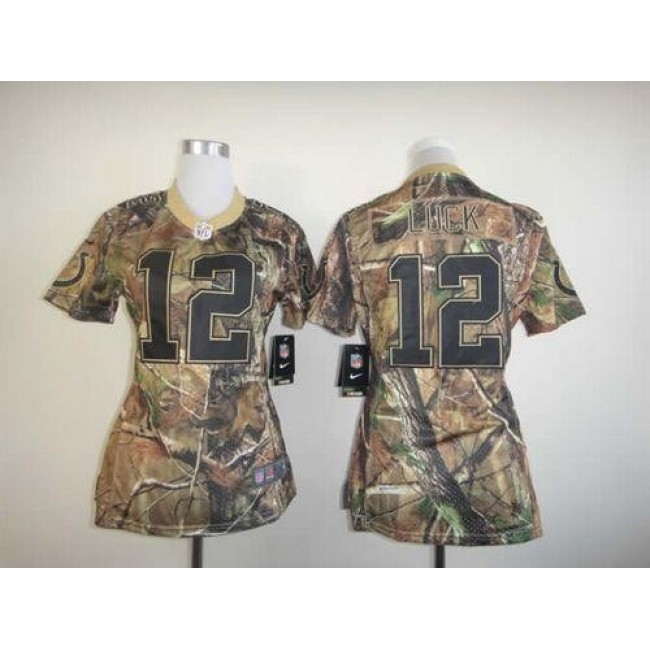 Women's Colts #12 Andrew Luck Camo Stitched NFL Realtree Elite Jersey