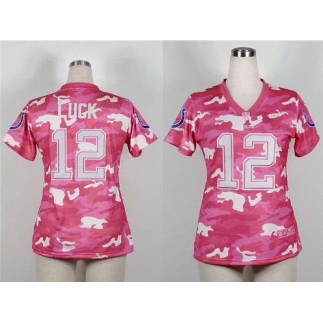 Women's Colts #12 Andrew Luck Pink Stitched NFL Elite Camo Jersey