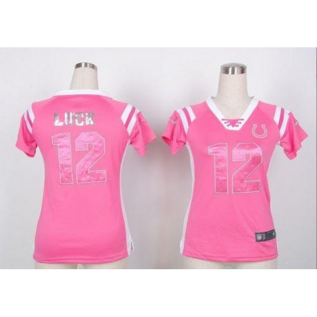 Women's Colts #12 Andrew Luck Pink Stitched NFL Elite Draft Him Shimmer Jersey