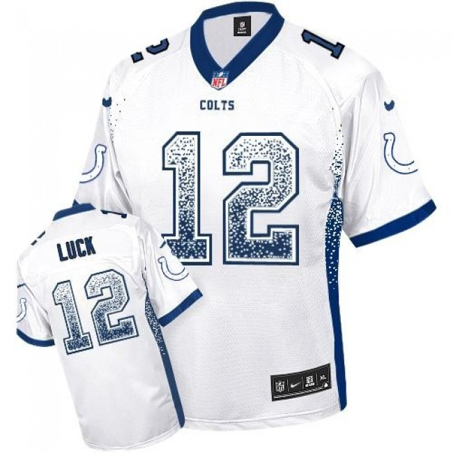 Nike Colts #12 Andrew Luck White Men's Stitched NFL Elite Drift Fashion Jersey
