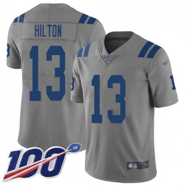Nike Colts #13 T.Y. Hilton Gray Men's Stitched NFL Limited Inverted Legend 100th Season Jersey