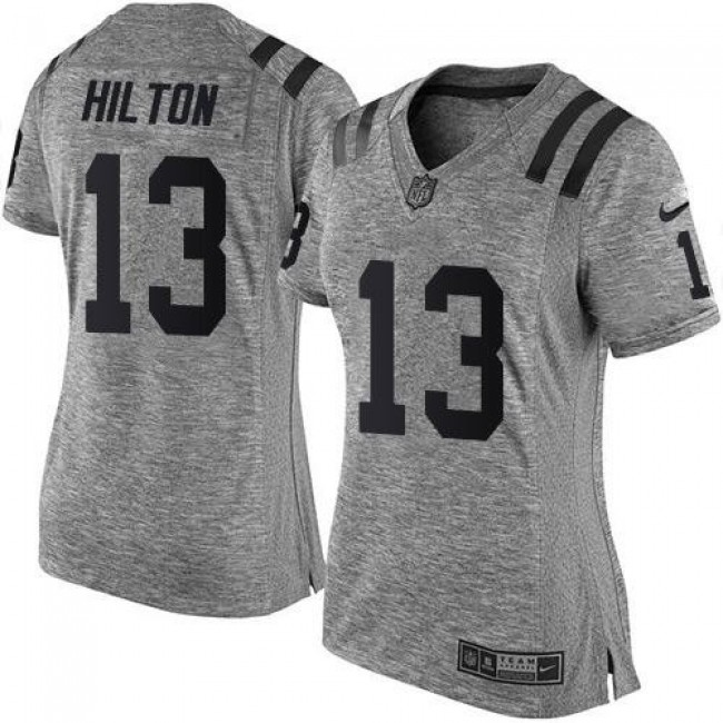 Women's Colts #13 T.Y. Hilton Gray Stitched NFL Limited Gridiron Gray Jersey
