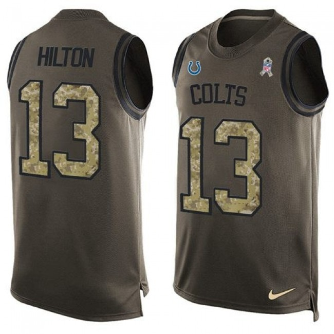 Nike Colts #13 T.Y. Hilton Green Men's Stitched NFL Limited Salute To Service Tank Top Jersey
