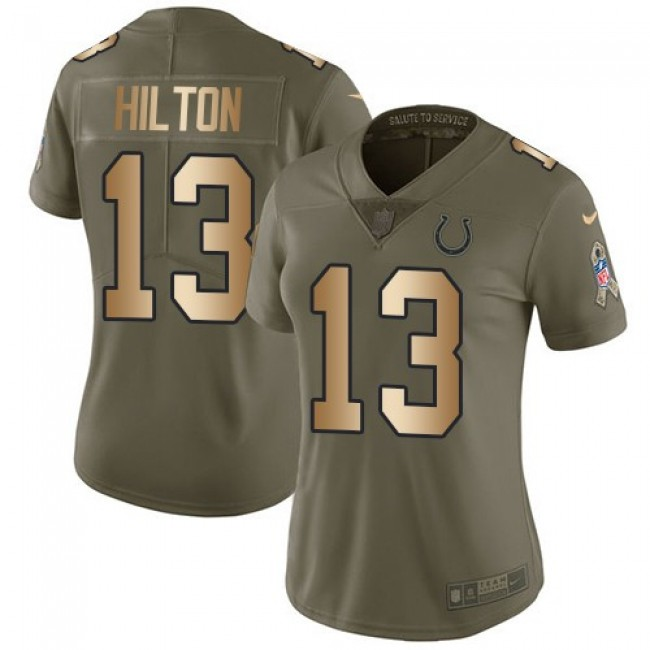 Women's Colts #13 T.Y. Hilton Olive Gold Stitched NFL Limited 2017 Salute to Service Jersey