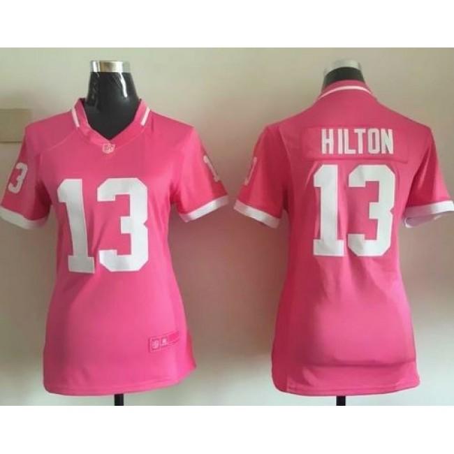 Women's Colts #13 T.Y. Hilton Pink Stitched NFL Elite Bubble Gum Jersey