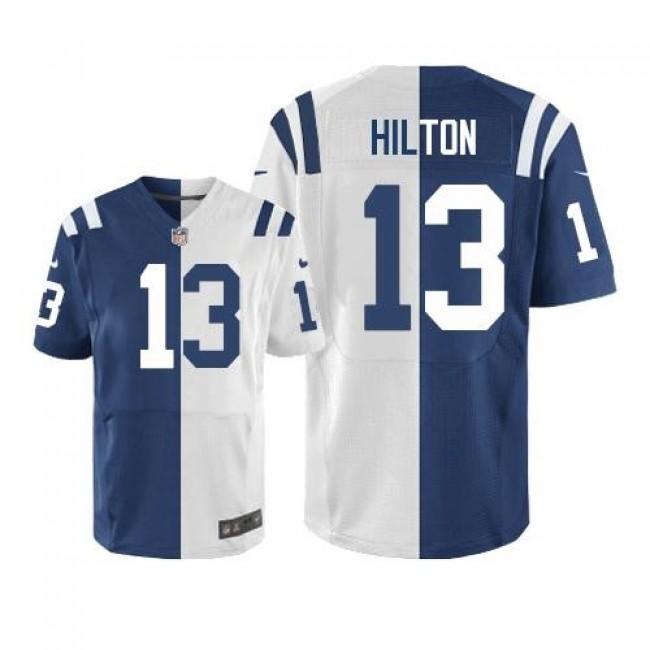 Nike Colts #13 T.Y. Hilton Royal Blue/White Men's Stitched NFL Elite Split Jersey