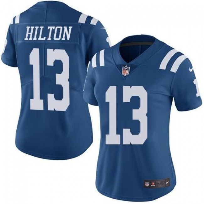 Women's Colts #13 T.Y. Hilton Royal Blue Stitched NFL Limited Rush Jersey