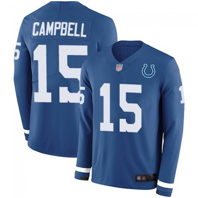 Nike Colts #15 Parris Campbell Royal Blue Team Color Men's Stitched NFL Limited Therma Long Sleeve Jersey