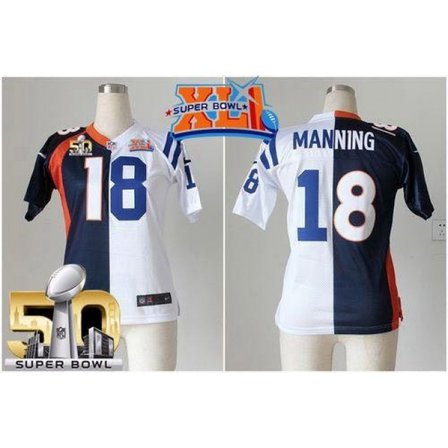 Women's Colts #18 Peyton Manning Blue White Super Bowl XLI Super Bowl 50 Stitched NFL Elite Split Broncos Jersey