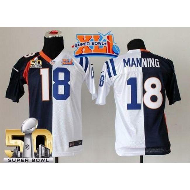 Indianapolis Colts #18 Peyton Manning Blue-White Super Bowl XLI Super Bowl 50 Youth Stitched NFL Elite Split Denver Broncos Jersey