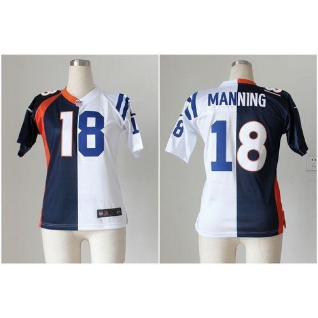 Women's Colts #18 Peyton Manning Blue White Stitched NFL Elite Split Broncos Jersey