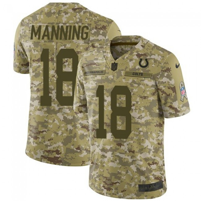 Nike Colts #18 Peyton Manning Camo Men's Stitched NFL Limited 2018 Salute To Service Jersey