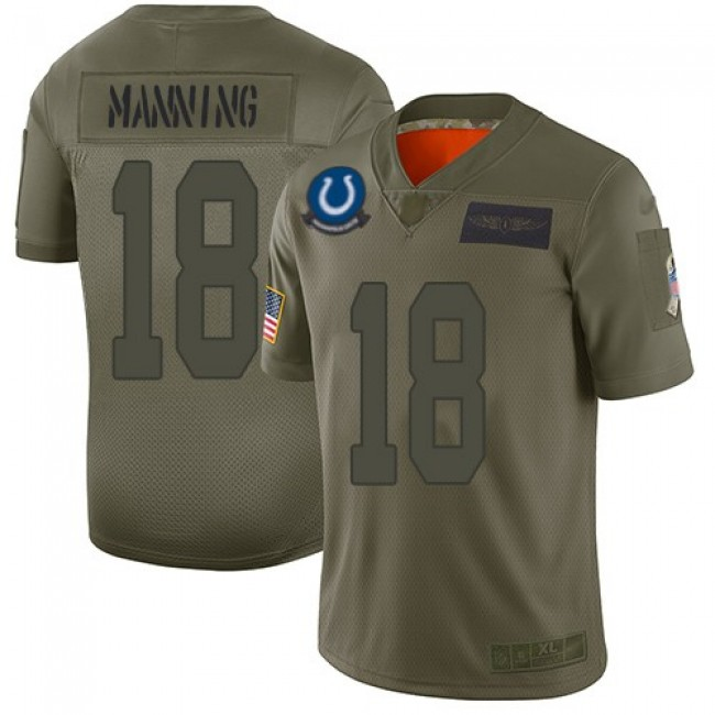Nike Colts #18 Peyton Manning Camo Men's Stitched NFL Limited 2019 Salute To Service Jersey