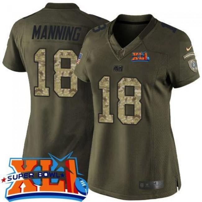Women's Colts #18 Peyton Manning Green Super Bowl XLI Stitched NFL Limited Salute to Service Jersey
