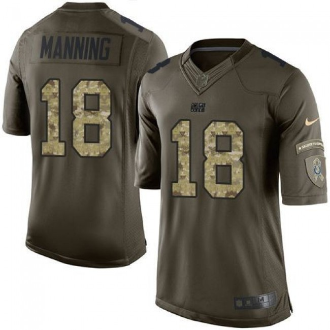 Indianapolis Colts #18 Peyton Manning Green Youth Stitched NFL Limited Salute to Service Jersey