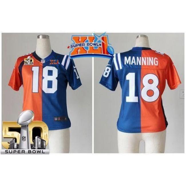 Women's Colts #18 Peyton Manning Orange Blue Super Bowl XLI Super Bowl 50 Stitched NFL Elite Split Broncos Jersey