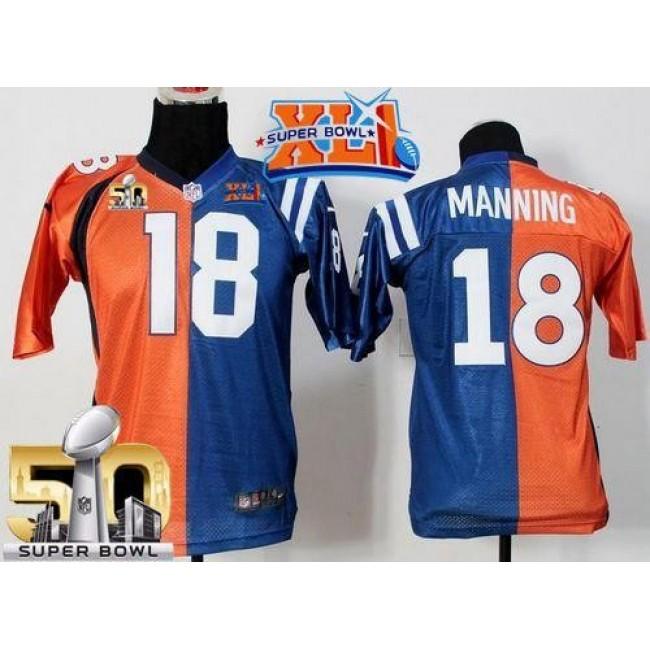 Indianapolis Colts #18 Peyton Manning Orange-Blue Super Bowl XLI Super Bowl 50 Youth Stitched NFL Elite Split Denver Broncos Jersey