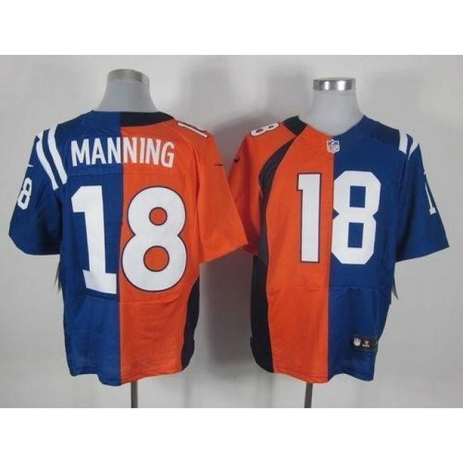 Nike Colts #18 Peyton Manning Orange/Royal Blue Men's Stitched NFL Elite Split Broncos Jersey
