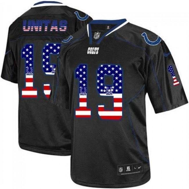Nike Colts #19 Johnny Unitas Black Men's Stitched NFL Elite USA Flag Fashion Jersey