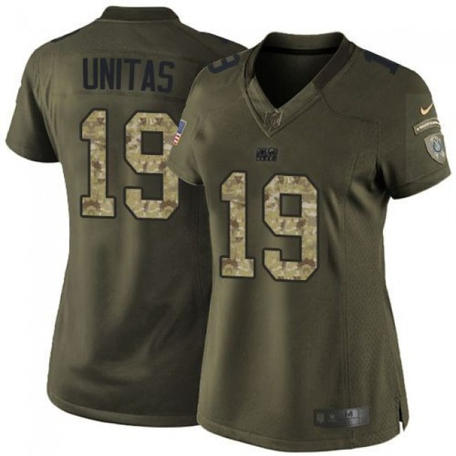 Women's Colts #19 Johnny Unitas Green Stitched NFL Limited Salute to Service Jersey
