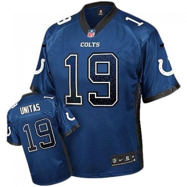 Nike Colts #19 Johnny Unitas Royal Blue Team Color Men's Stitched NFL Elite Drift Fashion Jersey