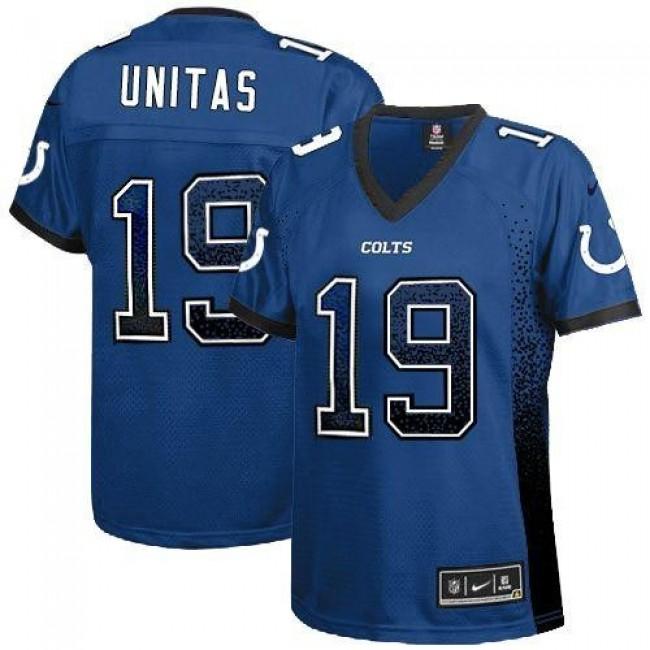 Women's Colts #19 Johnny Unitas Royal Blue Team Color Stitched NFL Elite Drift Jersey